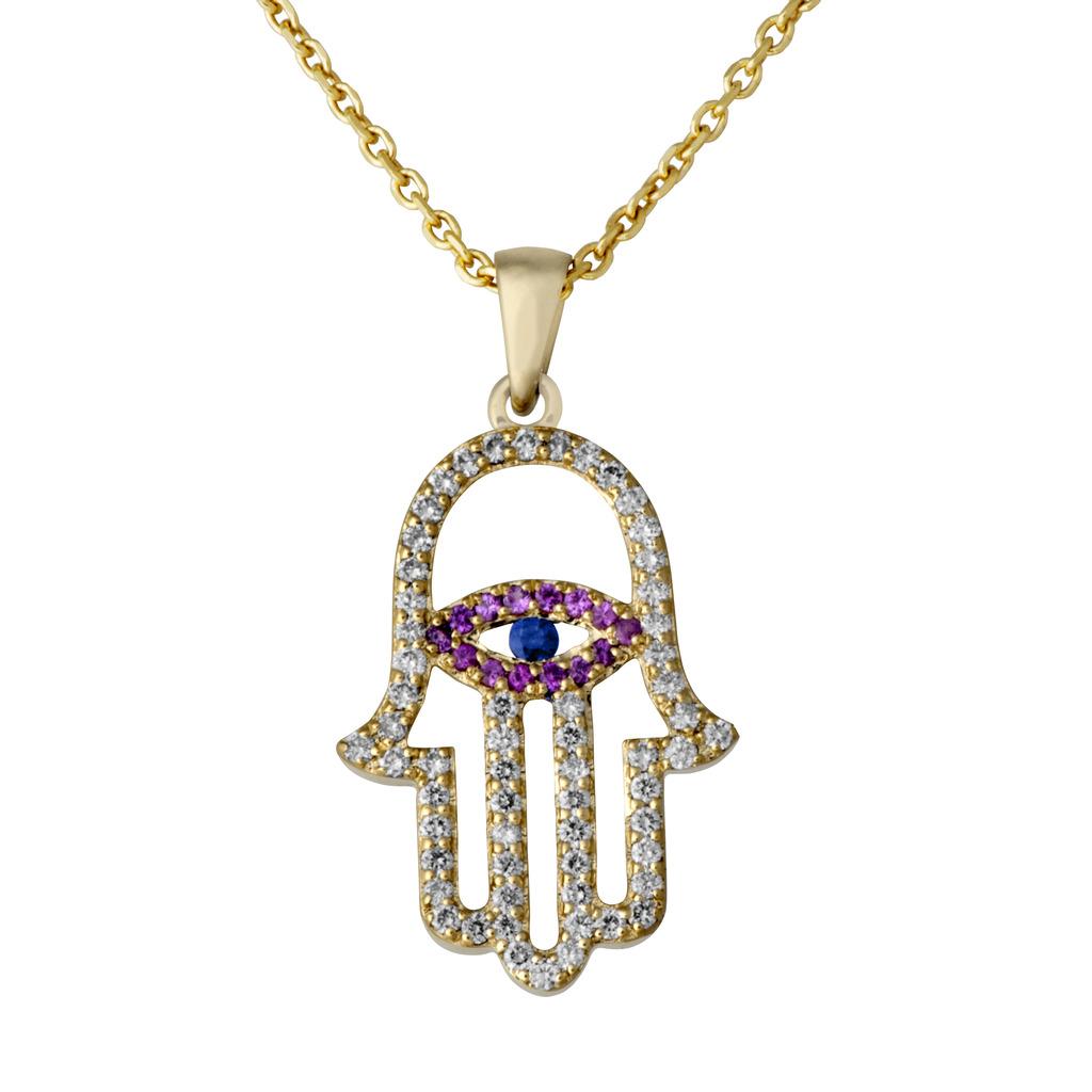 Diamonds sapphires 14k gold hamsa eye cutout pendant rafael diamonds sapphires 14k gold hamsa eye cutout pendant rafael jewelry designer mozeypictures Gallery